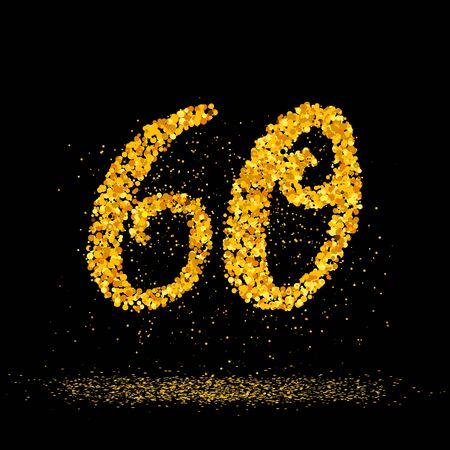 Beautiful card with number 60 made with little glitter gold circles with falling glittery particles. Golden sixty on black background. Vector illustration for your graphic design. 向量圖像