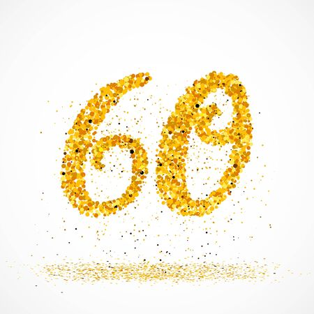 Beautiful card with number 60 made with little glitter gold circles with falling glittery particles. Golden sixty on white background. Vector illustration for your graphic design.