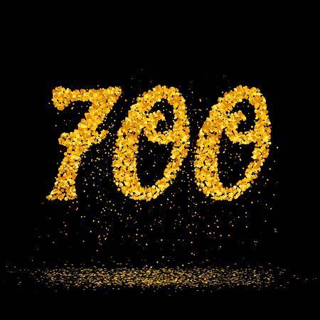 Beautiful card with number 700 made with little glitter gold circles with falling glittery particles. Golden seven hundreds on black background. Vector illustration for your graphic design. 向量圖像