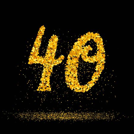 Beautiful card with number 40 made with little glitter gold circles with falling glittery particles. Golden forty on black background. Vector illustration for your graphic design. 向量圖像
