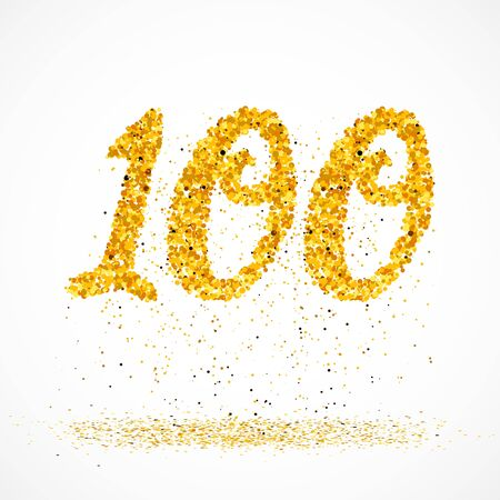 Beautiful card with number 100 made with little glitter gold circles with falling glittery particles. Golden one hundred on white background. Vector illustration for your graphic design. 向量圖像