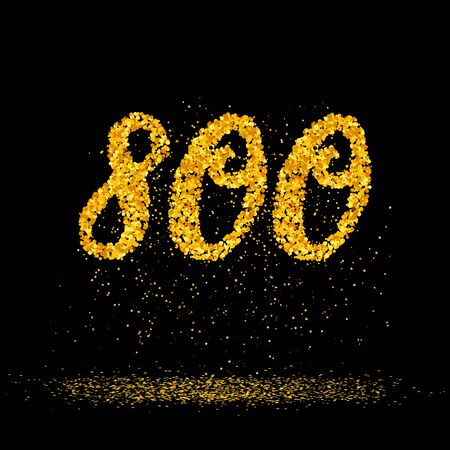 Beautiful card with number 800 made with little glitter gold circles with falling glittery particles. Golden eight hundres on black background. Vector illustration for your graphic design.