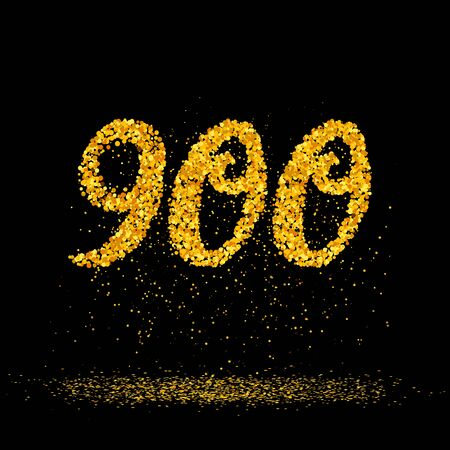 Beautiful card with number 900 made with little glitter gold circles with falling glittery particles. Golden nine hundreds on black background. Vector illustration for your graphic design.