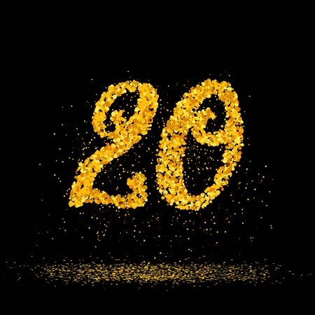Beautiful card with number 20 made with little glitter gold circles with falling glittery particles. Golden twenty on black background. Vector illustration for your graphic design.