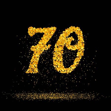 Beautiful card with number 70 made with little glitter gold circles with falling glittery particles. Golden seventy on black background. Vector illustration for your graphic design.