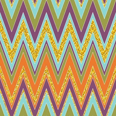 Colorful and bright chevron pattern. Seamless zig zag pattern in warm colors. Vector illustration for your graphic design. Ilustração