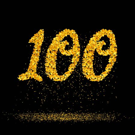 Beautiful card with number 100 made with little glitter gold circles with falling glittery particles. Golden one hundred on black background. Vector illustration for your graphic design. 向量圖像
