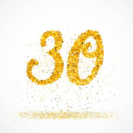 Beautiful card with number 30 made with little glitter gold circles with falling glittery particles. Golden thirty on white background. Vector illustration for your graphic design. 向量圖像