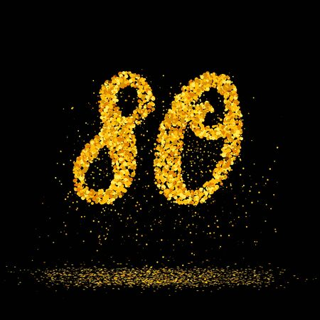 Beautiful card with number 80 made with little glitter gold circles with falling glittery particles. Golden eighty on black background. Vector illustration for your graphic design.