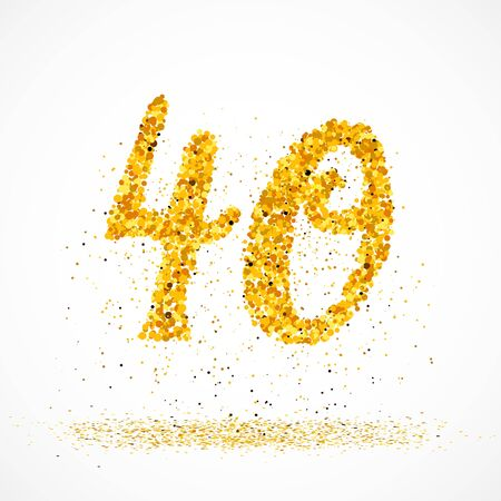 Beautiful card with number 40 made with little glitter gold circles with falling glittery particles. Golden fourty on white background. Vector illustration for your graphic design. Çizim