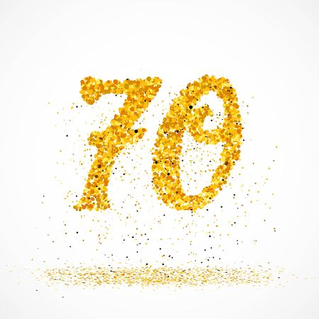 Beautiful card with number 70 made with little glitter gold circles with falling glittery particles. Golden seventy on white background. Vector illustration for your graphic design.