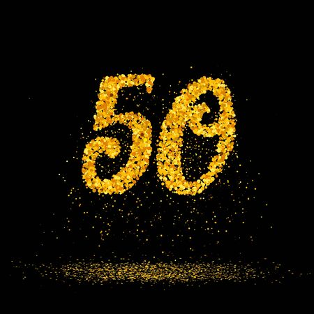 Beautiful card with number 50 made with little glitter gold circles with falling glittery particles. Golden fifty on black background. Vector illustration for your graphic design.