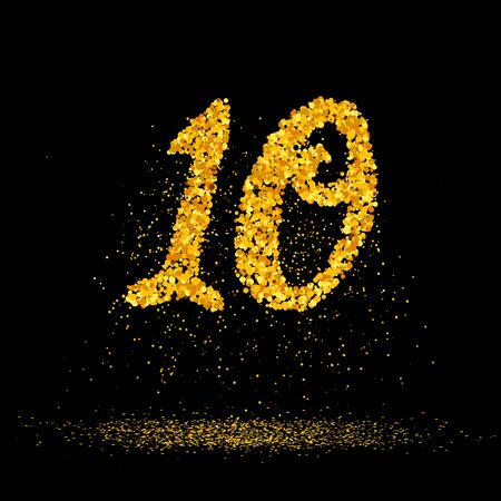 Beautiful card with number 10 made with little glitter gold circles with falling glittery particles. Golden ten on black background. Vector illustration for your graphic design.
