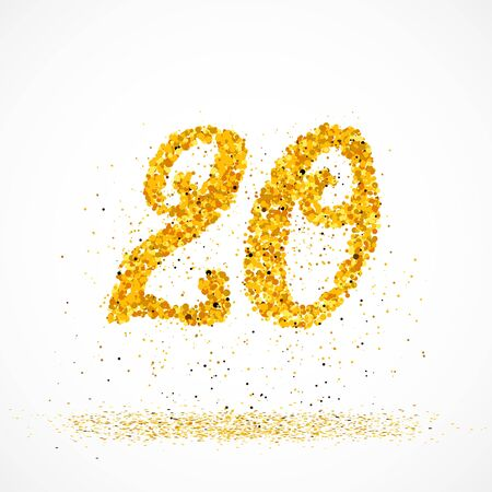 Beautiful card with number 20 made with little glitter gold circles with falling glittery particles. Golden twenty on white background. Vector illustration for your graphic design. 向量圖像