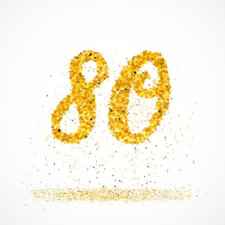 Beautiful card with number 80 made with little glitter gold circles with falling glittery particles. Golden eighty on white background. Vector illustration for your graphic design. 向量圖像