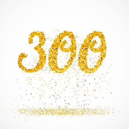 Beautiful card with number 300 made with little glitter gold circles with falling glittery particles. Golden three hundreds on white background. Vector illustration for your graphic design.