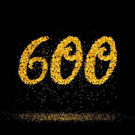 Beautiful card with number 600 made with little glitter gold circles with falling glittery particles. Golden six hundreds on black background. Vector illustration for your graphic design.