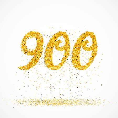 Beautiful card with number 900 made with little glitter gold circles with falling glittery particles. Golden nine hundreds on white background. Vector illustration for your graphic design.