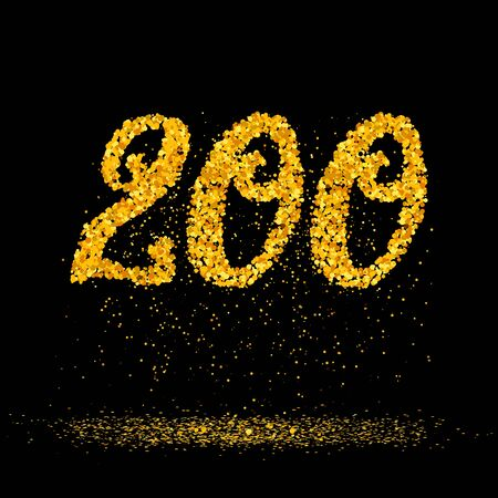 Beautiful card with number 200 made with little glitter gold circles with falling glittery particles. Golden two hundreds on black background. Vector illustration for your graphic design.