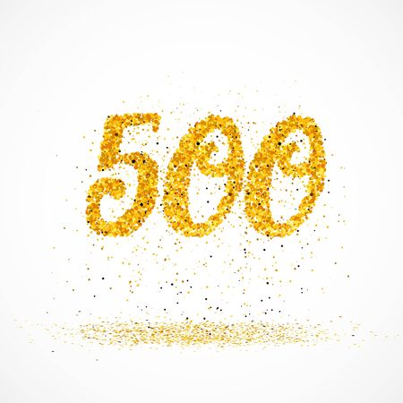 Beautiful card with number 500 made with little glitter gold circles with falling glittery particles. Golden five hundreds on white background. Vector illustration for your graphic design. 向量圖像