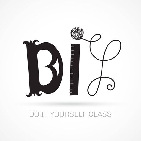 Do It Yourself hand lettered concept logo for course or master class. DIY header. Vector illustration for your graphic design.