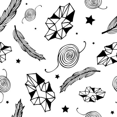 Seamless black hippie pattern with feathers, gems, stars and abstract elements on white background. Hand drawn repetitive pattern. Vector illustration for your graphic design.