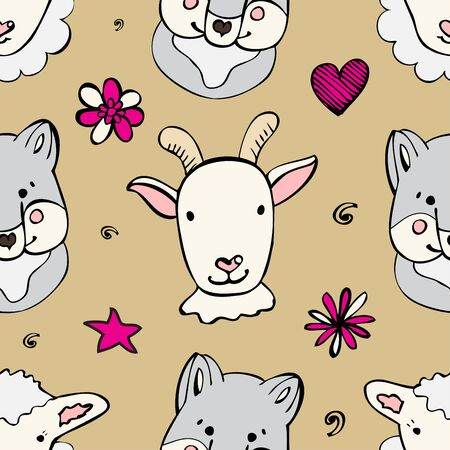 Seamless pattern with cute wild animals. Funny repetitive pattern with cute wolf, sheep and goat. Vector illustration for your graphic design.