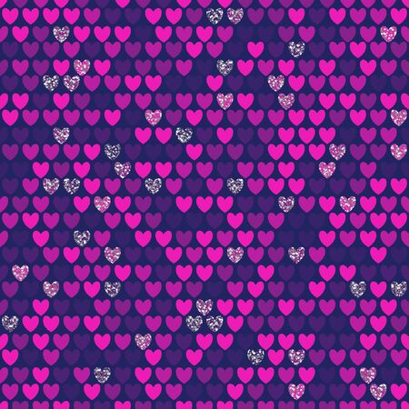 Seamless pattern with rows of violet hearts on black background. Repetitive background with red heart. Vector illustration for your graphic design.