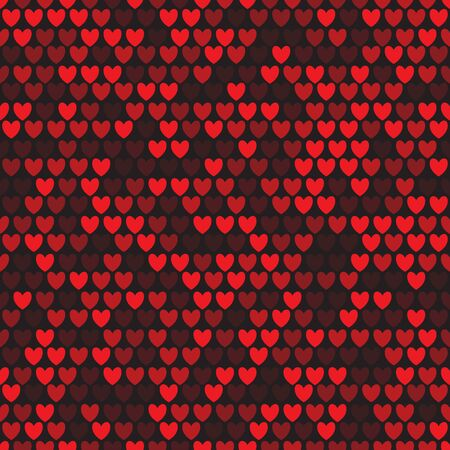 Seamless pattern with rows of red hearts on black background. Repetitive background with red heart. Vector illustration for your graphic design.