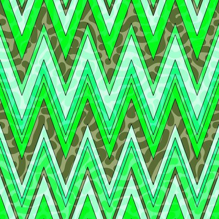 Colorful and bright chevron pattern. Seamless zig zag pattern in green colors. Vector illustration for your graphic design.