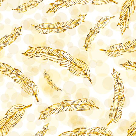 Seamless complex hippie pattern with golden feathers on light background. Vector illustration for your graphic design.D