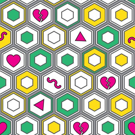 Seamless geometrical pattern with polygons. Colorful hipster pattern with hexagons. Vector illustration for your graphic design.