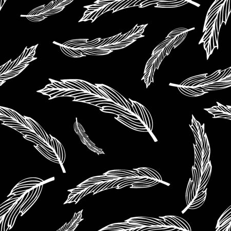 Seamless black hippie pattern with feathers on light background. Vector illustration for your graphic design.D