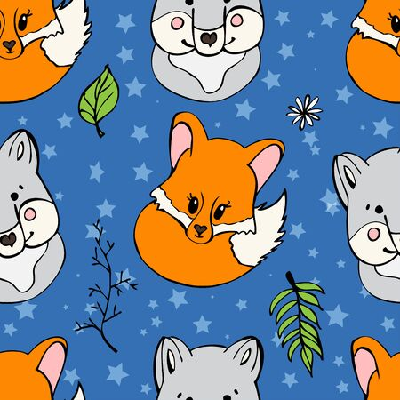 Seamless pattern with cute wild animals. Funny repetitive pattern with cute wolf and fox. Vector illustration for your graphic design.