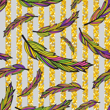 Seamless colorful hippie pattern with feathers on light background. Vector illustration for your graphic design.D