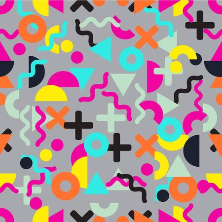 Seamless bright and funny geometrical pattern in memphis studio style. 80s style geometric pattern. Vector illustration for your graphic design.