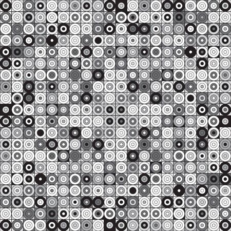 Seamless grey scale geometrical pattern with circles. Vector illustration for your graphic design. Ilustração