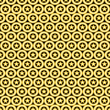 Simple seamless pattern with yellow stars on black background. Vector illustration for your graphic design.
