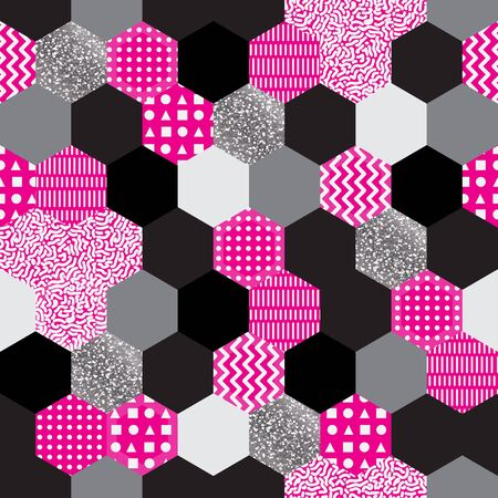 Seamless abstract in memphis studio style. Colorful geometric pattern made in 80s style.