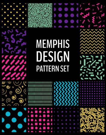 Set of seamless patterns in Memphis design style. 80s geometric patterns collection. Vector illustration for your graphic design. Ilustração