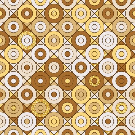 Seamless colorful geometrical pattern with circles. Vector illustration for your graphic design. Ilustração
