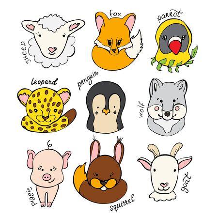 Set di simpatici e divertenti animali selvatici disegnati a mano. Collezione di simpatici animali su sfondo bianco. Illustrazione vettoriale per il tuo design grafico. Vettoriali