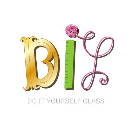 Do It Yourself hand lettered concept logo for course or master class. Colorful DIY header. Vector illustration for your graphic design.