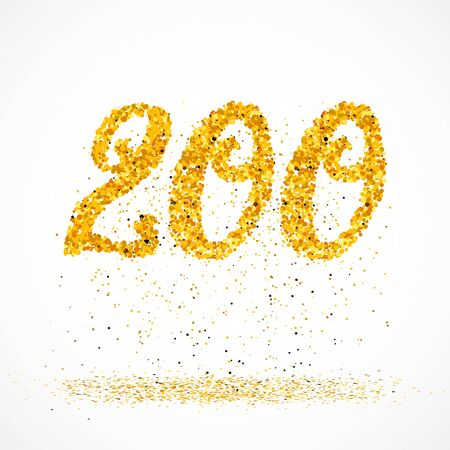 Beautiful card with number 200 made with little glitter gold circles with falling glittery particles. Golden two hundreds on white background. Vector illustration for your graphic design.