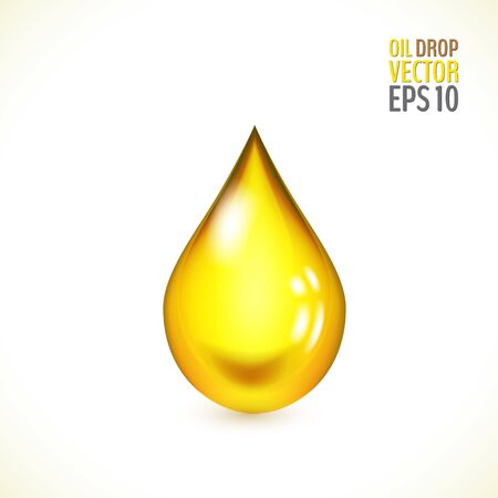 Transparent golden drop of oil. Yellow shiny liquid drop. Vector illustration for your graphic design.