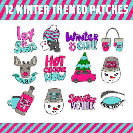 Set of winter themed patches. Funny and colorful winter stickers. Vector illustration for your graphic design. Иллюстрация