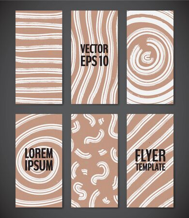 Flyer template set with rustic texture backgrounds in white and brown colors.  Simple geometric elements. 80s style flyers. Vector illustration for your graphic design. Foto de archivo - 130020521