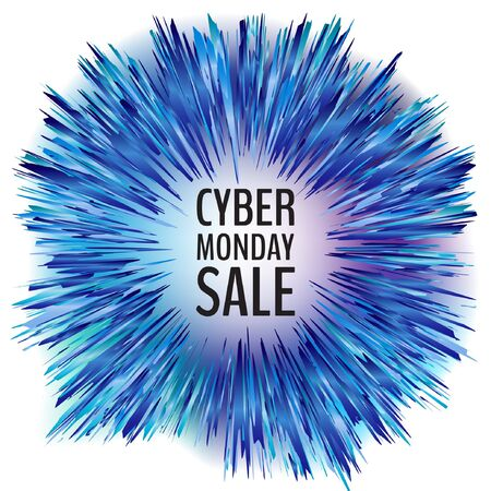 Cyber Monday Sale poster with bursting particles. Vector illustration for your graphic design.