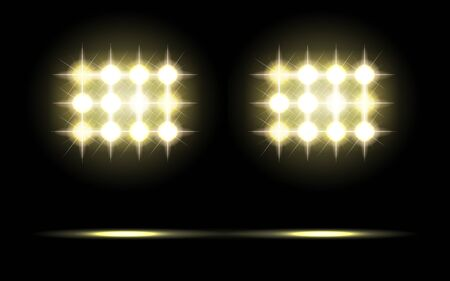 Glowing spotlights. Pair of illumination stage lights. Rows of lamps. Vector illustration for your graphic design. Иллюстрация