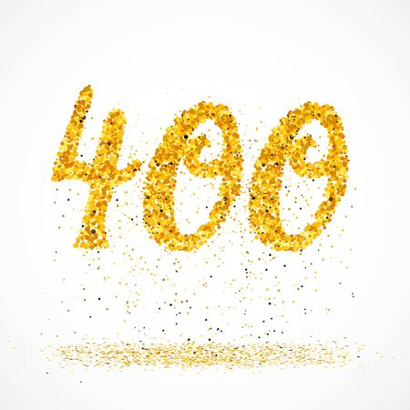 Beautiful card with number 400 made with little glitter gold circles with falling glittery particles. Golden four hundreds on white background. Vector illustration for your graphic design.